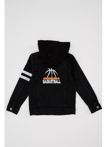 DeFacto NBA Lisanslı Kapüşonlu Jean Ceket Siyah